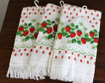 FREE SHIPPING - Set of 3 Strawberry Print Hand Towels