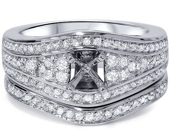 Diamond .51CT Engagement Mount Set 14K White Gold