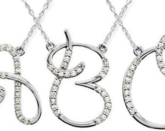 "1/4CT Diamond Initial Pendant 18"" Necklace 14K White Gold (A-Z)"