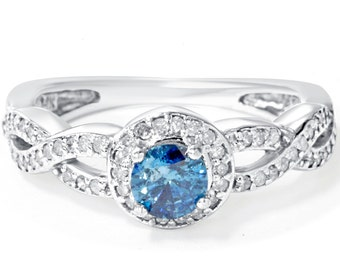 Halo Infinity Engagement Ring Blue & White Diamond 1.00CT  14K White Gold Round Brilliant Cut Size 4-9