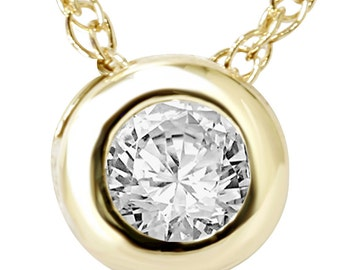 "SI .25Ct Solitaire Round Diamond Bezel Pendant 14 KT Yellow Gold & 18"" Chain"