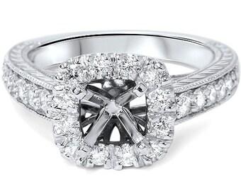 Vintage .55CT Cushion Halo Diamond Engagement Ring Re Mount Setting Semi Mount 14K White Gold