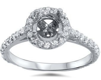 Diamond Halo Engagement Ring Setting White Gold Semi Mount Band 14 Karat Size 4-9 Fits 5.75-6.5MM Round Stone