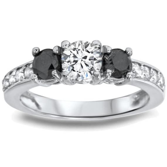 Black Diamond Engagement Ring 1 ct 3 Stone Ring 14K White