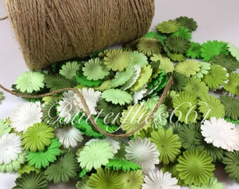 100 Mixed Green color Mini flat Handmade Scrapbook Paper Flowers  Code 839