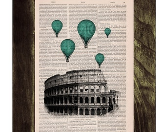 Turquoise balloons over Rome .Vintage Book Print - Rome Colosseum Balloon Ride Print on Vintage Book art TVH041
