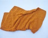 Knit baby blanket tangerine orange cotton