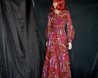 60s L Matinee Chiffon DRESS Pink Purple Paisley Batik Print