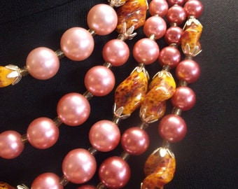 Pink Faux Pearl Bead Necklace