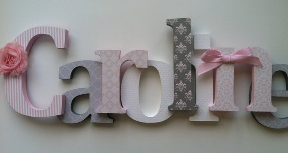 nursery wooden wall letters in pink and gray nursery letters child 39 s