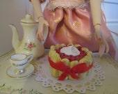 Miniature 1:6 scale Charlotte Cherry Cake doll food Poppy Parker Fashion Royalty Barbie GI Joe
