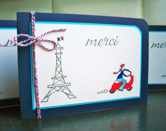 Merci Cards Set of 4, Paris Cards, Paris Thank You Cards, Eiffel Tower, Merci Thank You Cards, Vespa