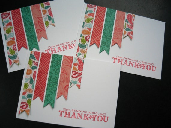 Christmas Thank You Notes Set of 3, Holiday Thank You Cards
