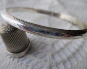 sterling silver hinged bangle bracelet - engraved,  925, victorian