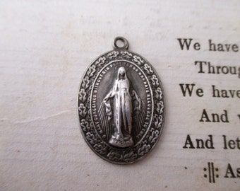 vintage St Mary sterling silver charm- medal, religious