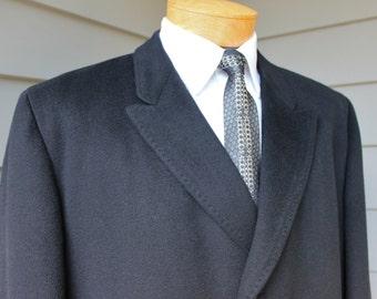 vintage 1960's -Eagle Clothes- Men's SB Overcoat. 'Pakasha' Pure Cashmere - Jet Black. Size 44 - 46 plus