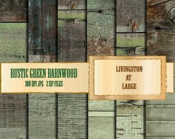 Rustic Green Barn Wood INSTANT Digital Download Scrapbook Printable