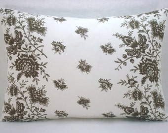 Brown and White Floral Lumbar Pillow Accent Pillow Decorative Pillow 12x18  Cover Only