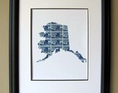 Alaska recycled postage stamp map