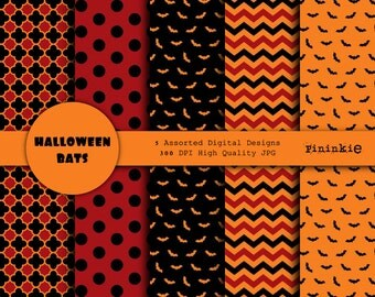 Halloween Digital Paper - Halloween Scrapbooking Paper - Instant Download - Commercial Use CU - Digital Scrapbooking Paper Halloween - Bats