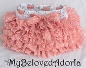 Crochet baby ruffle tutu skirt peach and white polka dots 6-12mo READY TO SHIP