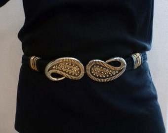 Large Size or Hip Sitter 80s Vintage Kissing PAISLEY Gold Color Belt 1980s Buckle Eighties