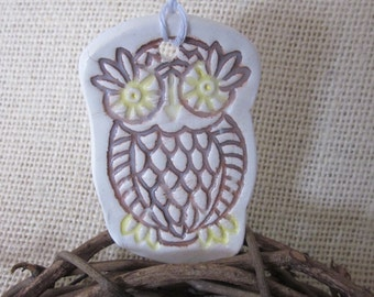 Brown Owl Ceramic Textured Ornament