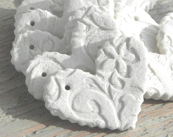 DIY Wholesale Wedding Valentine Mini Salt Dough Hearts Set of 12 Unfinished Ruffled Imprinted Heart Supplies with Hole