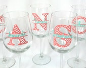 Coral and mint chevron wine glasses.  Bridesmaid glass,  monogram and name.  Bridesmaid gift idea, Maid of Honor gift idea. Chevron wedding