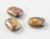 Brown Rectangle Beads, Bronzite 18mm Smooth Focal Beads, Stone Beads, Three