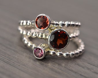 Pink Red Garnet Stack Rings, size 6, silver gold trio stacking stackable jewelry January Birthstone - Carmine Rings