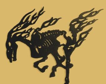 Skeletal Horse, Metal Art, Gothic, Skeleton, Wall decor, Silhouette, Gift, Free Domestic Shipping