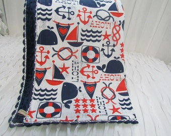 """Minky baby blanket- 31"""" X 36"""" - 'Michael Miller's Ahoy Matey' Cotton fabric,  navy minky dots and hand crochet trim. Made to order"""
