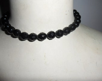 Authentic Vintage Black Faceted Glass Necklace