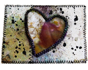 Mixed Media Heart ACEO Art Card - Fiber Art Painted