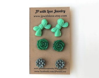 Stud earrings, flower stud earrings,Teal stud earrings, Green Stud earrings, Gray Stud earrings, set of 3, bridesmaid gift,christmas gift