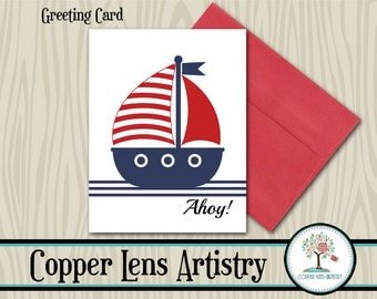 Nuatical, Greeting Card, Note Card, Blank Card, Mailable Card, Nautical Card, Sailboat, Sailor, Ahoy, Red White and Blue, Card,Sailing