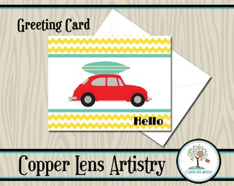 Hello Card, Greeting Card, Note Card, Blank Card, Card, Stationary, VW, Volkswagon, Surfboard