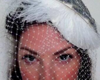 Wedding veil birdcage veil ivory silver/short veil/1920's style blusher veil Hollywood glamour/sequin veil ivory/bridal veil feather