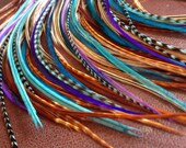 DYI Hair Feather Extensions Long Purple Teal Blue Grizzly Natural Blend, 6 Bonded Salon Feathers - Long Feather Hair Extension