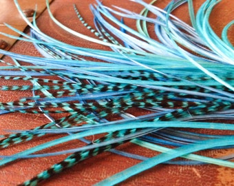 Frozen Blue Feather Extensions Long Shades Of Blue Hair Feathers, Loose Feather Hair Extensions, Grizzly, Blue, Turquoise Hair Accessories