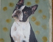 Reproduction on Canvas, of a Boston Terrier Painting