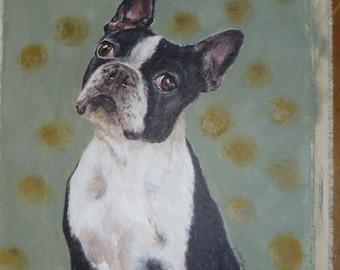 Custom Pet Portrait, Boston Terrier, Acrylic on canvas