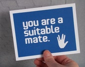 You are a suitable mate/mother/father - Blue Card with White lettering - Star Trek / Spock inspired - blank inside