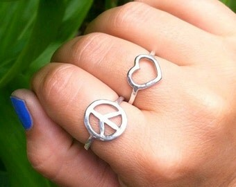Peace Sign Ring, Sterling Silver, Hammered, Handmade Hawaii, Textured, Peace Jewelry, Boho Fashion, Rings, Christmas Gift, Stocking Stuffer