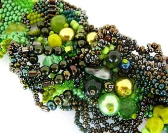 Green beaded Bracelet, Beaded jewelry, Seed bead bracelet, Bracelet for women, Summer gifts for her, Handmade item