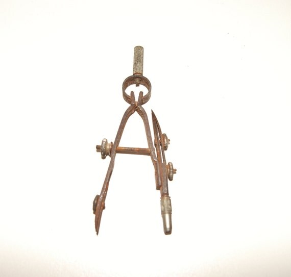 Vintage drafting tool drawing compass with ruling pen for Architecture drawing tools