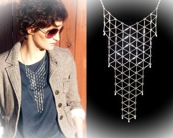 Geometric bib necklace, silver tone statement geo necklace, modern jewelry, link grid