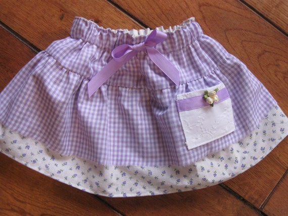 Toddler Size 3T Purple Lavender Lilac Gingham Check OOAK One of a Kind Skirt Ready to Ship RTS