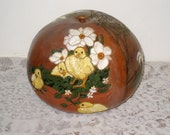 Large Folk Art Gourd / Hand Carved, Hand Painted 3 Barnyard Scenes / Chicks, Ducks, Barn, Hen, Pig / Vintage Farmhouse Decor